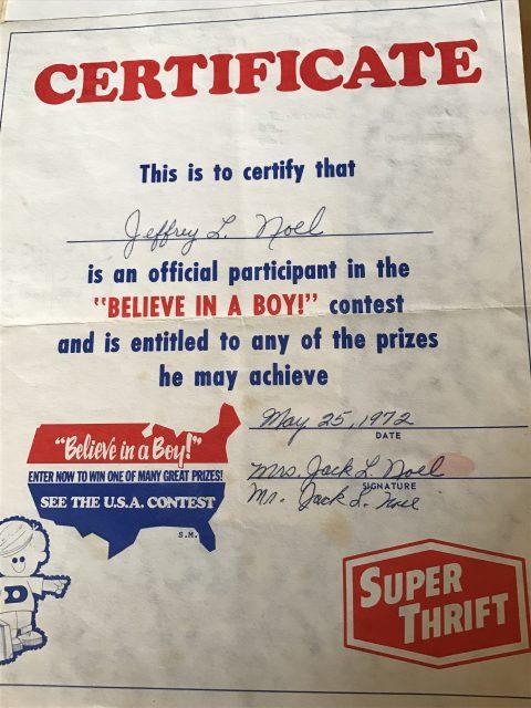 Child's 1973 achievement certificate