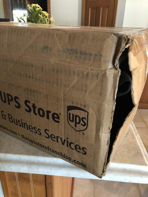 damaged UPS box