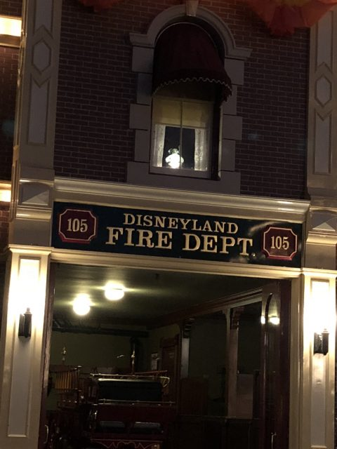 Walt Disney's apartment lamp at night
