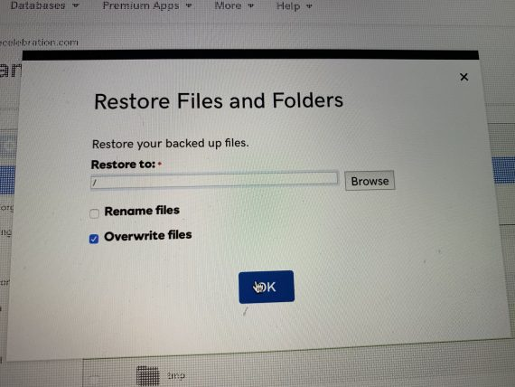 GoDaddy restore files