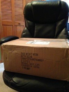 photo of package from China sitting on desk chair in Orlando