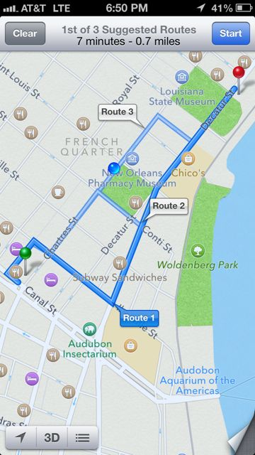 Google map of directions from Palace Cafe to cafe Du Monde