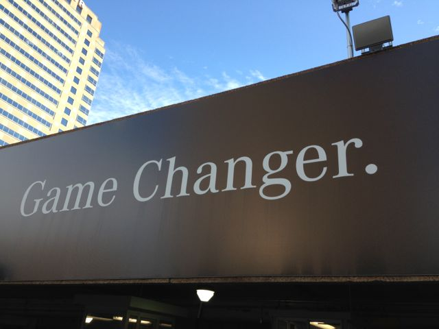 Sign outside Super Dome says, Game Changer