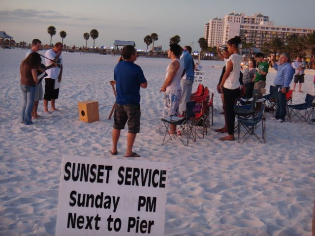 Florida beach sunset church service