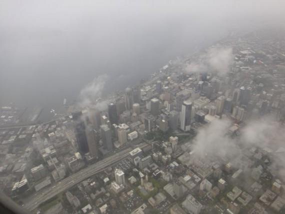Seattle Washington fron the air on a rainy day