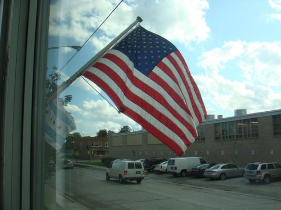 American Flag flying at Chicago business