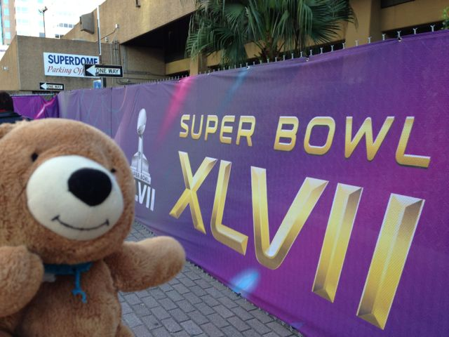 Luckiest teddy bear in the world at Super Dome