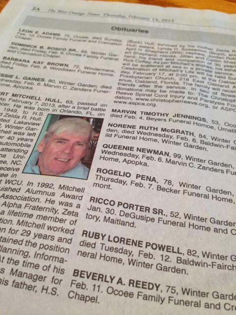 West Orange Times Obituaries