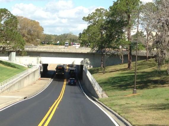 Road under Disney's water bridge