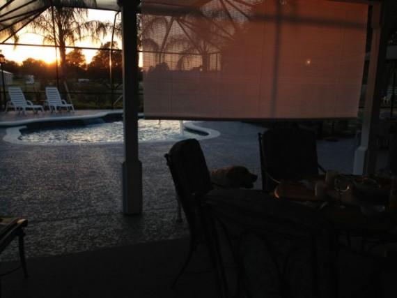 Sunset on central Florida lanai