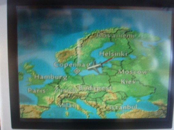 Airplane seat back map of Europe