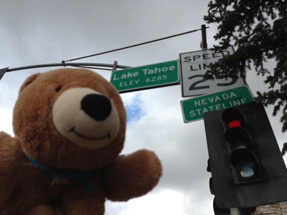 Lake Tahoe state line and elevation sign