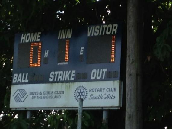 Hilo Rotary Club Baseball scoreboard