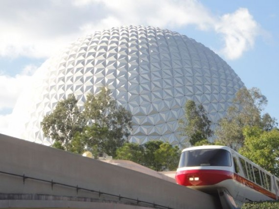 Epcot's Spaceship Earth and Disney Monorail Red