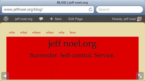 jeff noel .org website header color is red on purpose