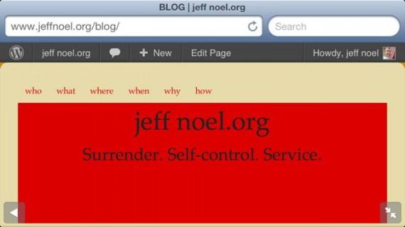 jeff noel .org website header color is red on purpose