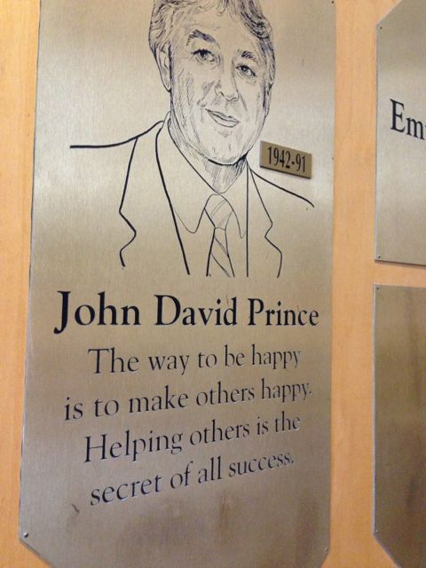 Jon Prince plaque hanging in Health Central Hospital