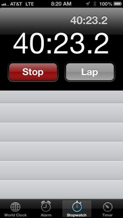 iPhone timer for 40 minute run