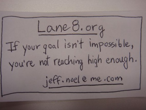 Simple, homemade, first draft business card (2008)