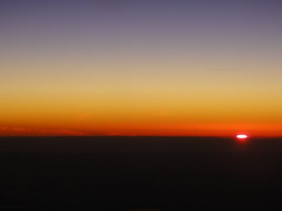 Sun at the break of the horizon from Jet