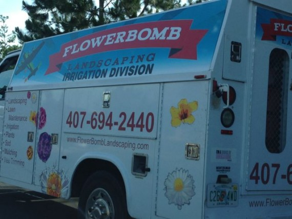 Flower Bomb - what a perfect name for a landscaping company