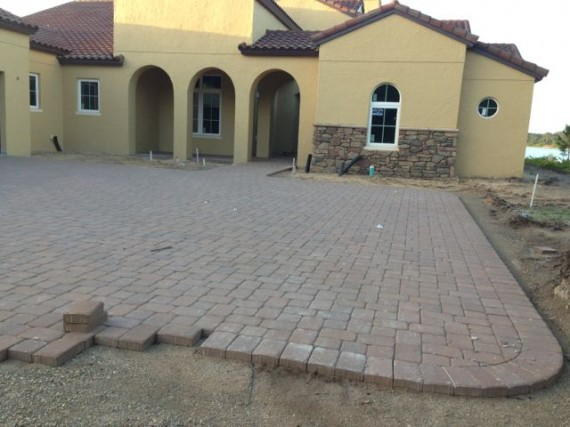 brick driveway being laid out at Orlando home