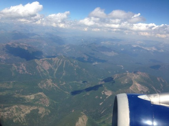 Glacier National Park as plane descends into Kalispell, Montana