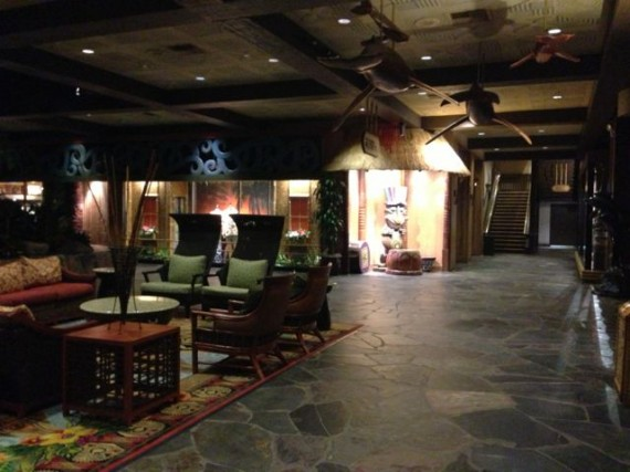 Disney's Polynesian Resort lobby is deserted at 5:15am