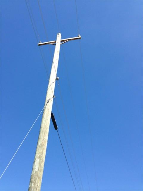 Roadside power pole