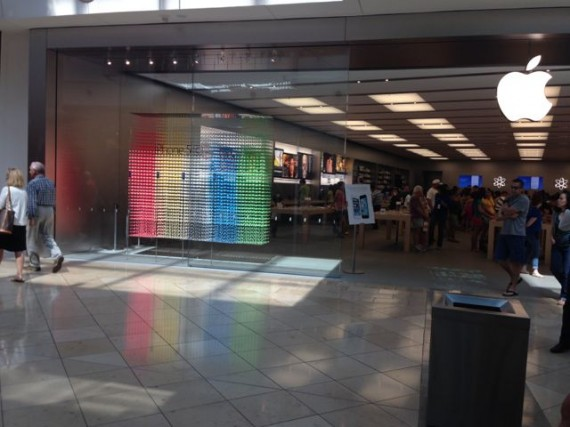 Hollister is immediately to the left of this flagship Apple Store