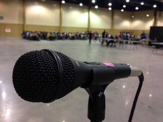 microphone in large auditorium