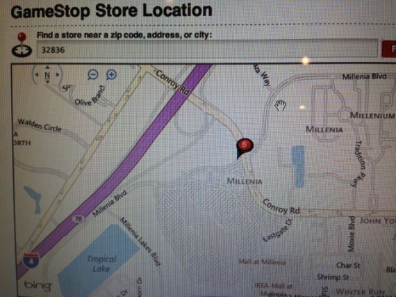 GameStop store map