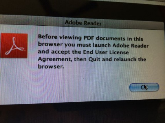 Adobe update message