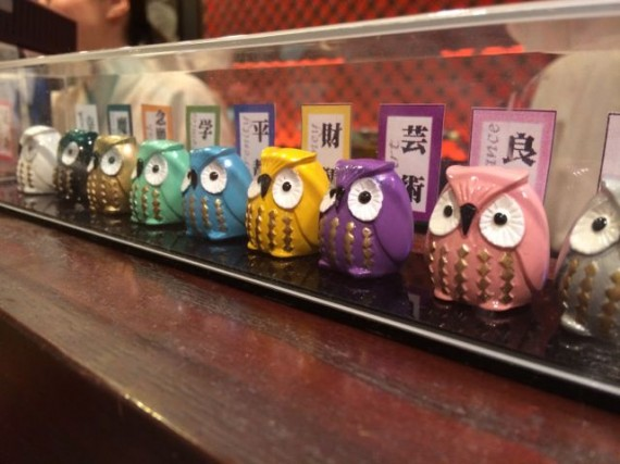 Small owl trinkets lined up on display