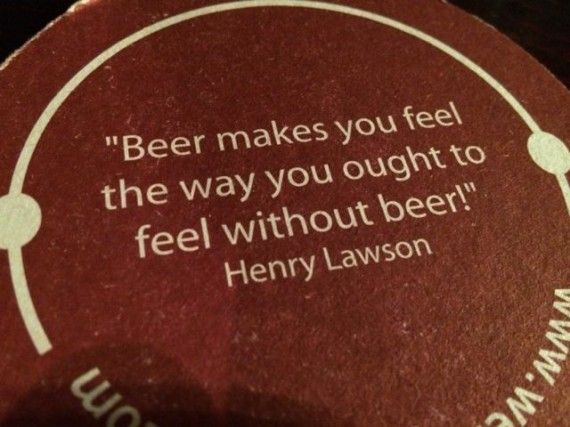 Quote about beer and being drunk
