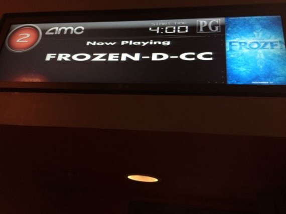 Frozen, the movie, marque at Movie Theater