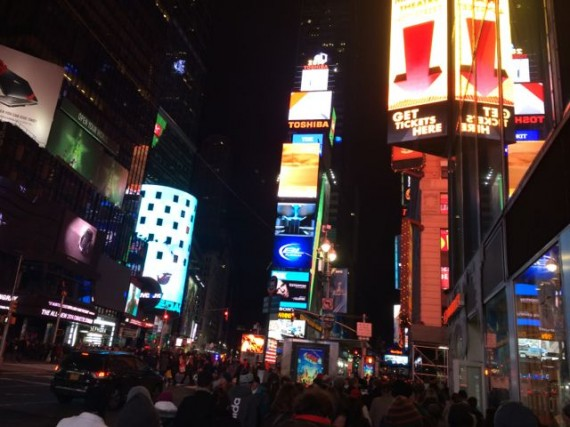 Times Square on a January Saturday night