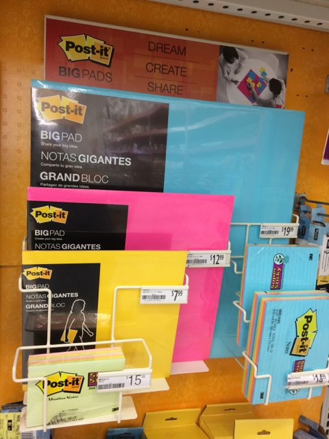 Post It note display at Office Max