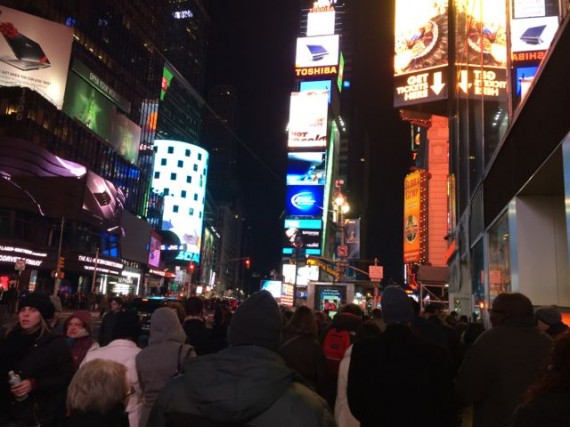 Times Square on a cold Saturday night
