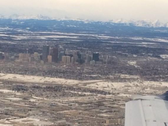 Calgary, Alberta from the air in Winter