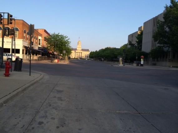 empty college town street