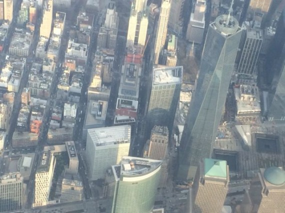Freedom Tower in New York City from Delta jet