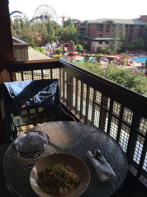 Disney's Grand Californian Resort rom balcony overlooking pool area