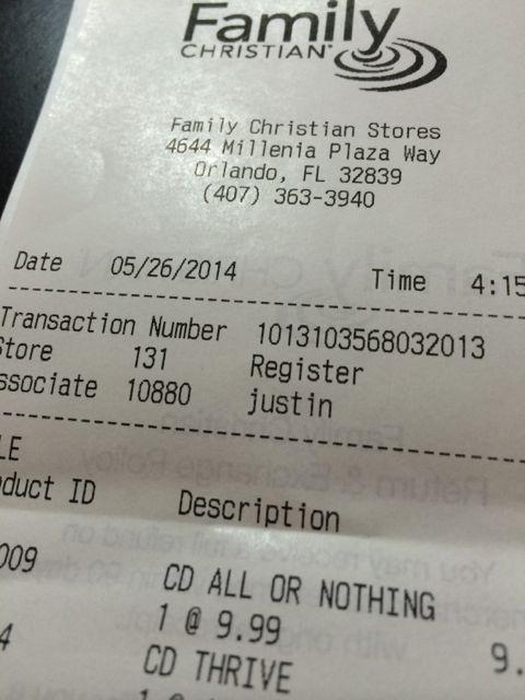 Family Christian receipt