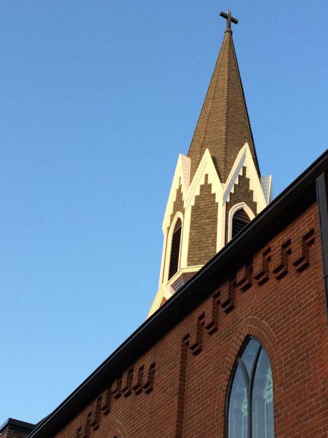 Church steeple in Iowa City, iowa