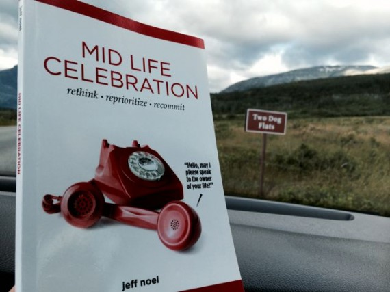 Mid Life Celebration book at Two Dog Flats sign