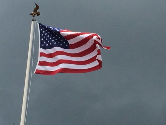 American Flag blowing prodding in a strong wind