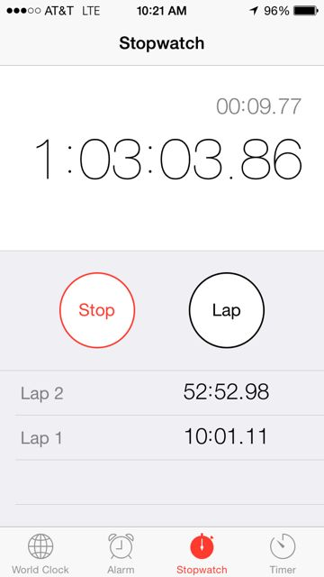iPhone screen shot of stopwatch