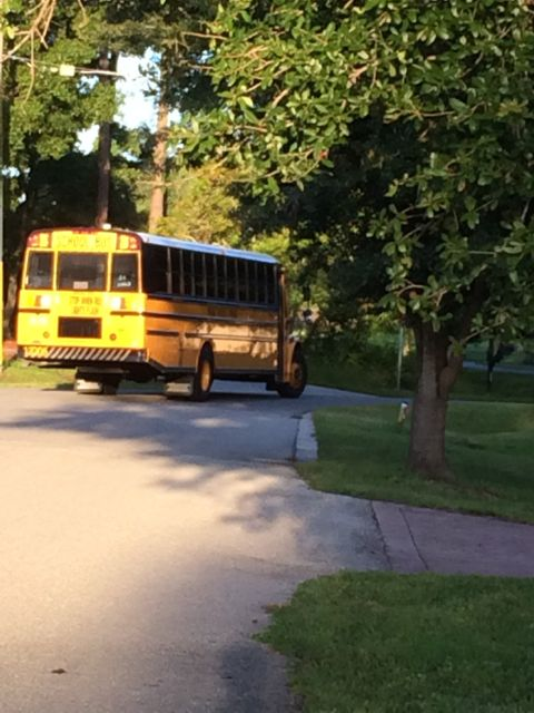 School bus at sunrise