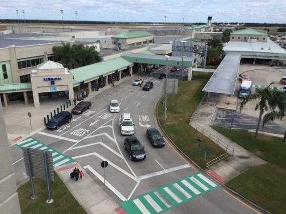 Sanford Orlando Airport view from parking garage top floor
